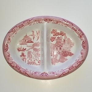 Churchill England Willow Rosa Pink Divided Dish